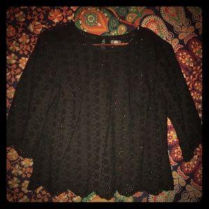 """Aerie black """"lace"""" blouse"""